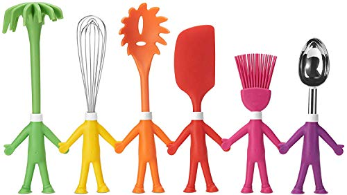 Kitchen Utensil Set - 6 Cooking Utensils in Human Shapes - Colorful Silicone Kitchen Utensils - Nonstick Cookware Best Kitchen Tools Kitchen Gadgets