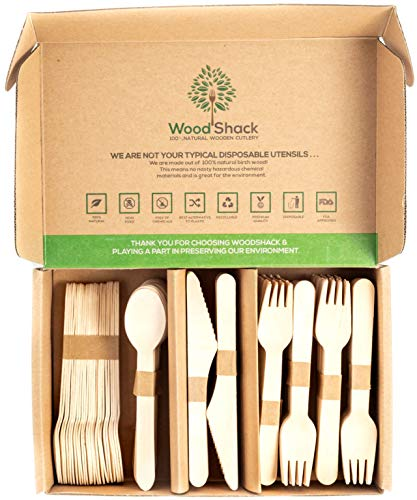 200 Pieces of Premium Eco-friendly Disposable Biodegradable Wooden Cutlery Utensil Set - 100 Forks 50 Spoons and 50 Knives Silverware Packaged in a Plastic Free Re-Usable Storage Box