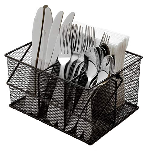 Ashman Silverware Caddy - Flatware Cutlery and Utensil Organizer with Napkin Holder Condiments for Kitchen Dining Outdoors Picnics and Parties - Black Steel Mesh