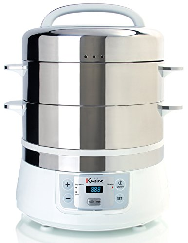 Euro Cuisine FS2500 Electric Food Steamer WhiteStainless Steel