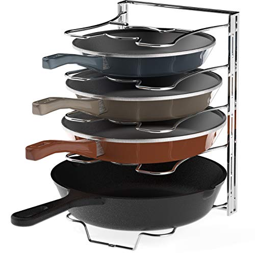Kitchen Cabinet 5 Adjustable Compartments Pan and Pot Lid Organizer Rack Holder Chrome