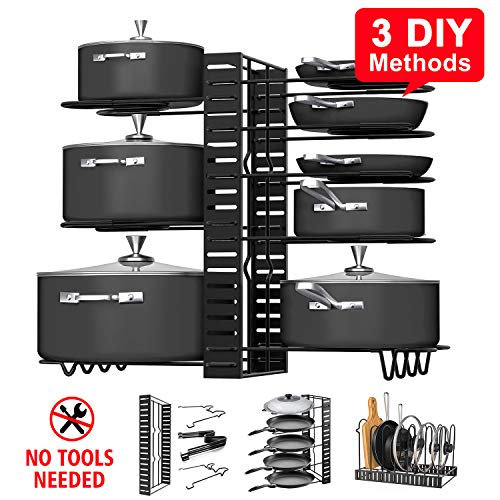 Pot Rack Organizers G-TING 8 Tiers Pots and Pans Organizer Adjustable Pot Lid Holders Pan Rack for Kitchen Counter and Cabinet Lid Organizer for Pots and Pans With 3 DIY Methods2019 Upgraded