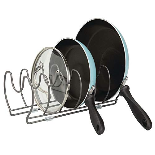 mDesign Metal Wire PotPan Organizer Rack for Kitchen Cabinet Pantry Shelves 6 Slots for Vertical or Horizontal Storage of Skillets Frying or Sauce Pans Lids Baking Stones - Graphite Gray