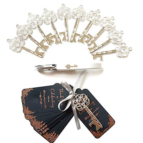 20pcs Key Bottle Openers Wedding Favors for Guests Party Favors Rustic Vintage Skeleton Key Bottle Opener with Escort Card Tag Bridal Shower Favors Antique Decoration Silver
