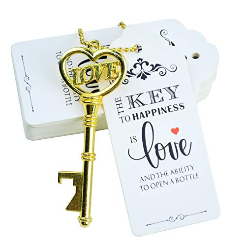 Makhry 52pcs Vintage Skeleton Key Bottle Opener with Love Heart Escort Thank You Tags and Keychain as Wedding Favor for Wedding Guest Wedding Decor Gold