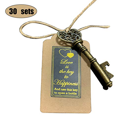 NUIBY 30 PCS Skeleton Vintage Key Bottle Openers Wedding Favors for Guests Rustic Party Favors with Escort Card Tag and Twine 30 PCS Bronze Vintage Style