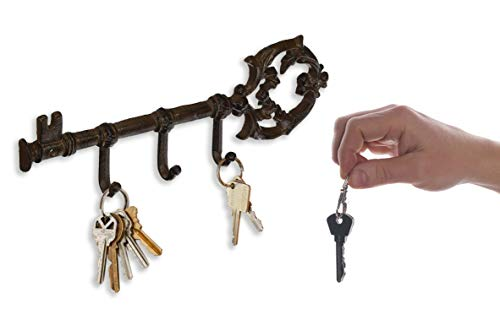 Royal Brands Decorative Wall Mounted Vintage Key with 3 Hooks Key Holder - Rustic Cast Iron