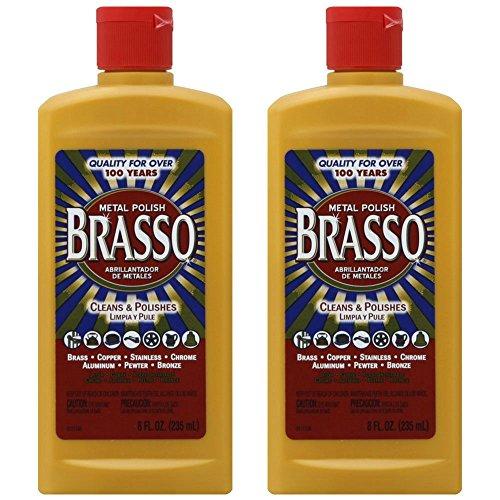 Brasso Metal Polish 8 oz Bottle for Brass Copper Stainless Chrome Aluminum Pewter Bronze 8 oz Pack of 2