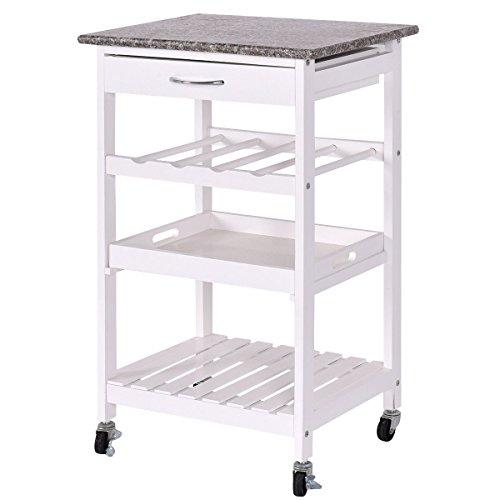 Portable Kitchen Rolling Cart Island Storage Wine Rack: Giantex 4-Tier Rolling Wood Kitchen Trolley Island Cart