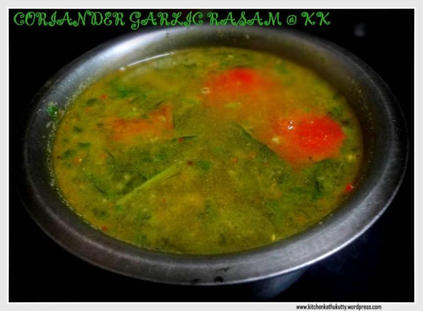 Coriander Garlic Rasam/Kothamalli Poondu Rasam