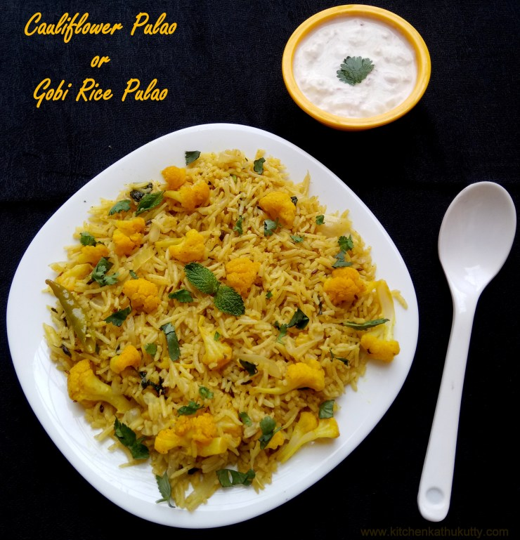 Cauliflower Pulao or Gobi Pulao