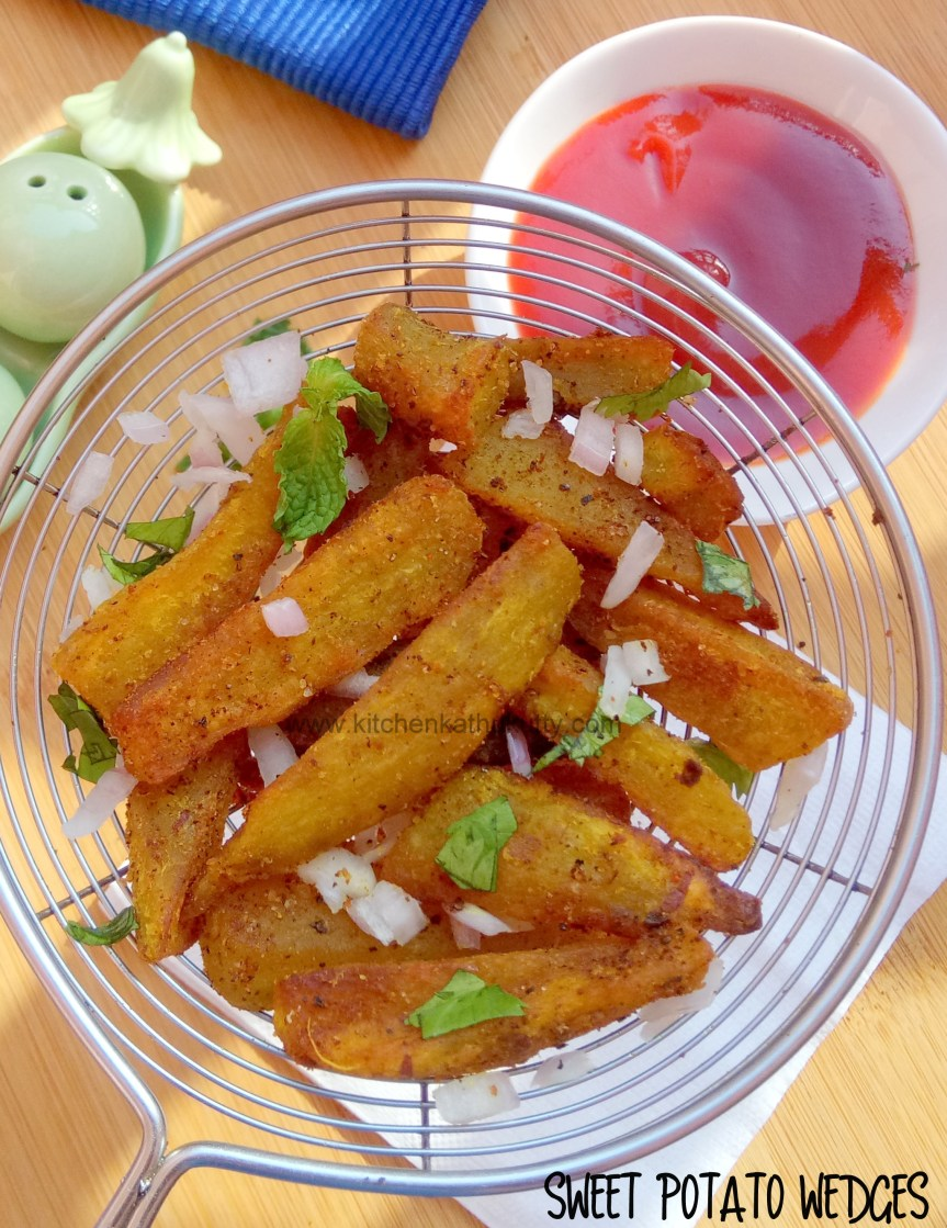 Sweet Potato Wedges for babies,toddlers and kids-without oven/on tawa