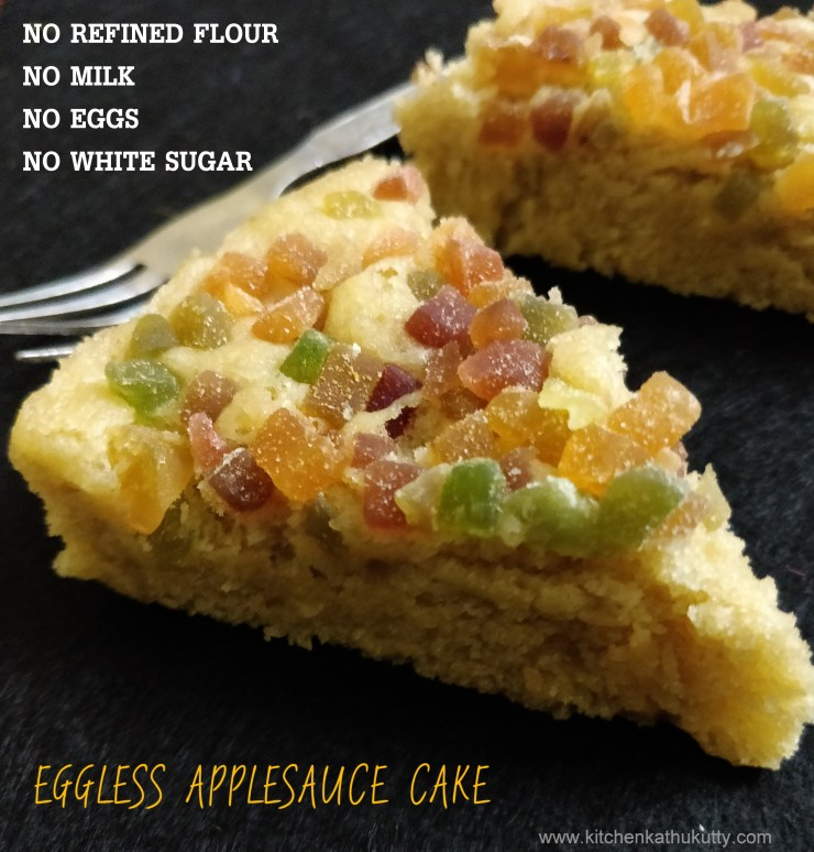 eggless apple sauce cake for toddlers and kid