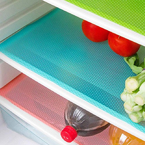 Aiosscd 7 PCS Shelf Mats Antifouling Refrigerator Liners Washable Can Be Cut Refrigerator Pads Fridge Mats Drawer Table Placemats2 Green2 Pink3blue