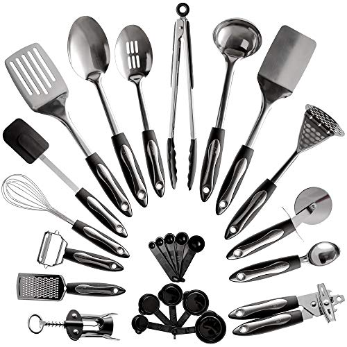 25-Piece Stainless Steel Kitchen Utensil Set  Non-Stick Cooking Gadgets and Tools Kit  Durable Dishwasher-Safe Cookware Set  Kitchenware Gift Idea Best New Apartment Essentials