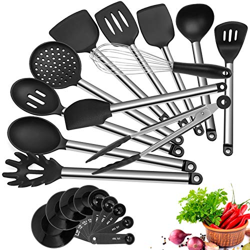 Kitchen Utensil Set 21 Piece AILUKI Cook Utensil Set Silicone Cooking Utensil Set Stainless Steel Utensils Cookware Set Great Kitchen Tools for Gift