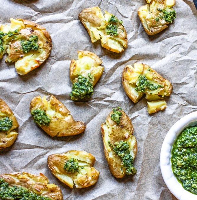 Crispy Smashed Potatoes With Pesto