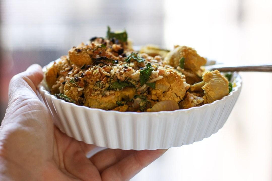 creamy vegan baked pumpkin pasta
