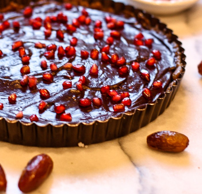 Raw Chocolate Pomegranate Tart