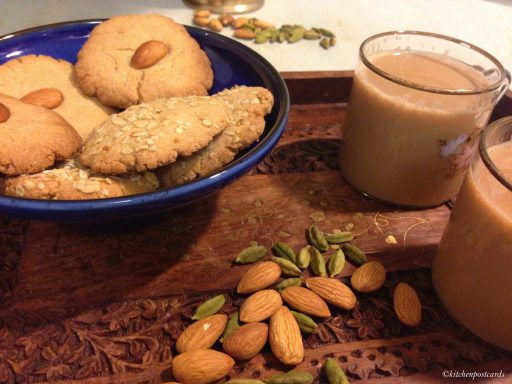 Cardamon flavored Atta Biscuits baked at home with cups of tea.