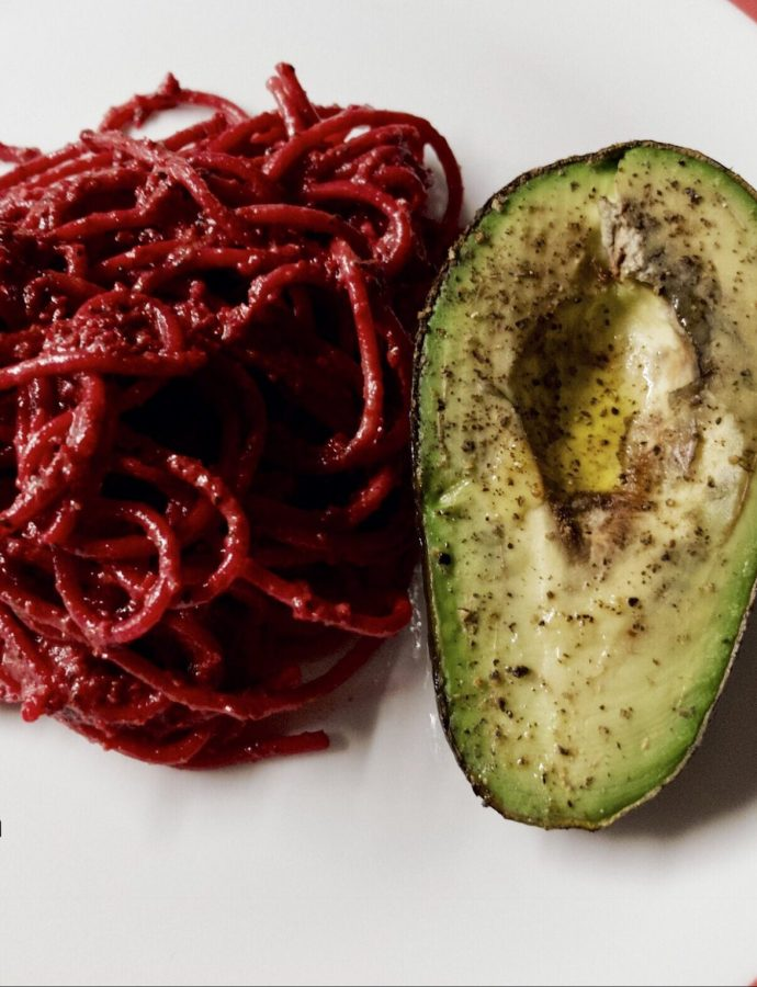 Linguine with Beetroot Pesto and Roasted Avocado