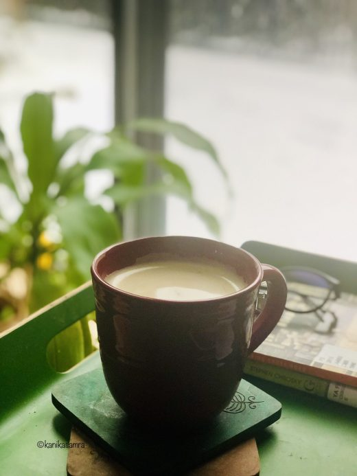 Cappuccino at home with beaten coffee
