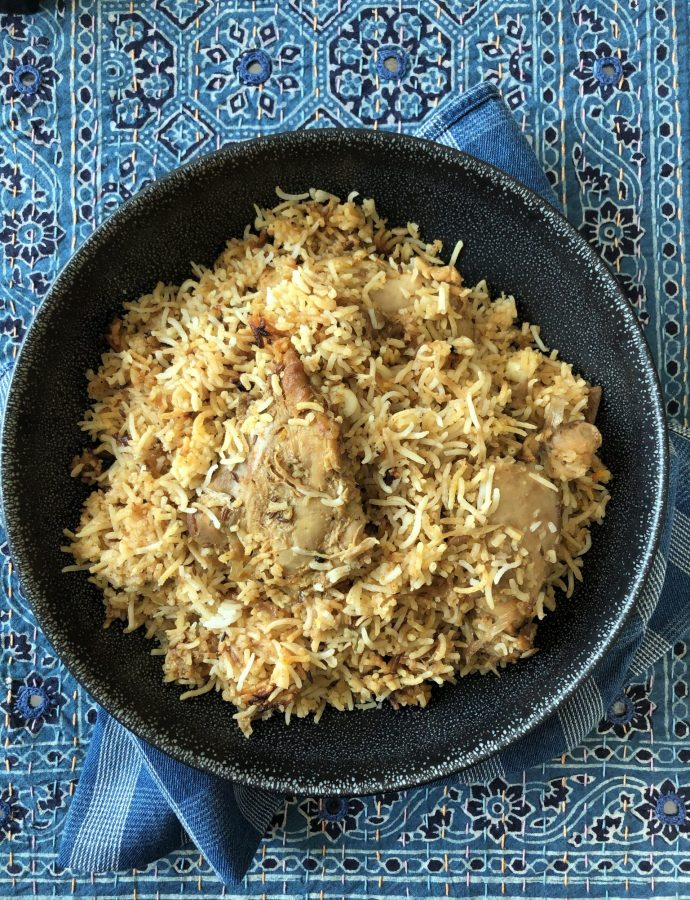 Awadhi Chicken Dum Biryani by a friend and Onion Raita