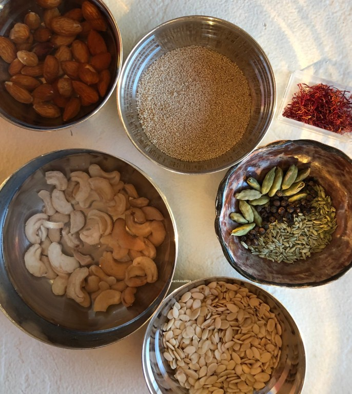 Ingredients for making Thandai Concentrate