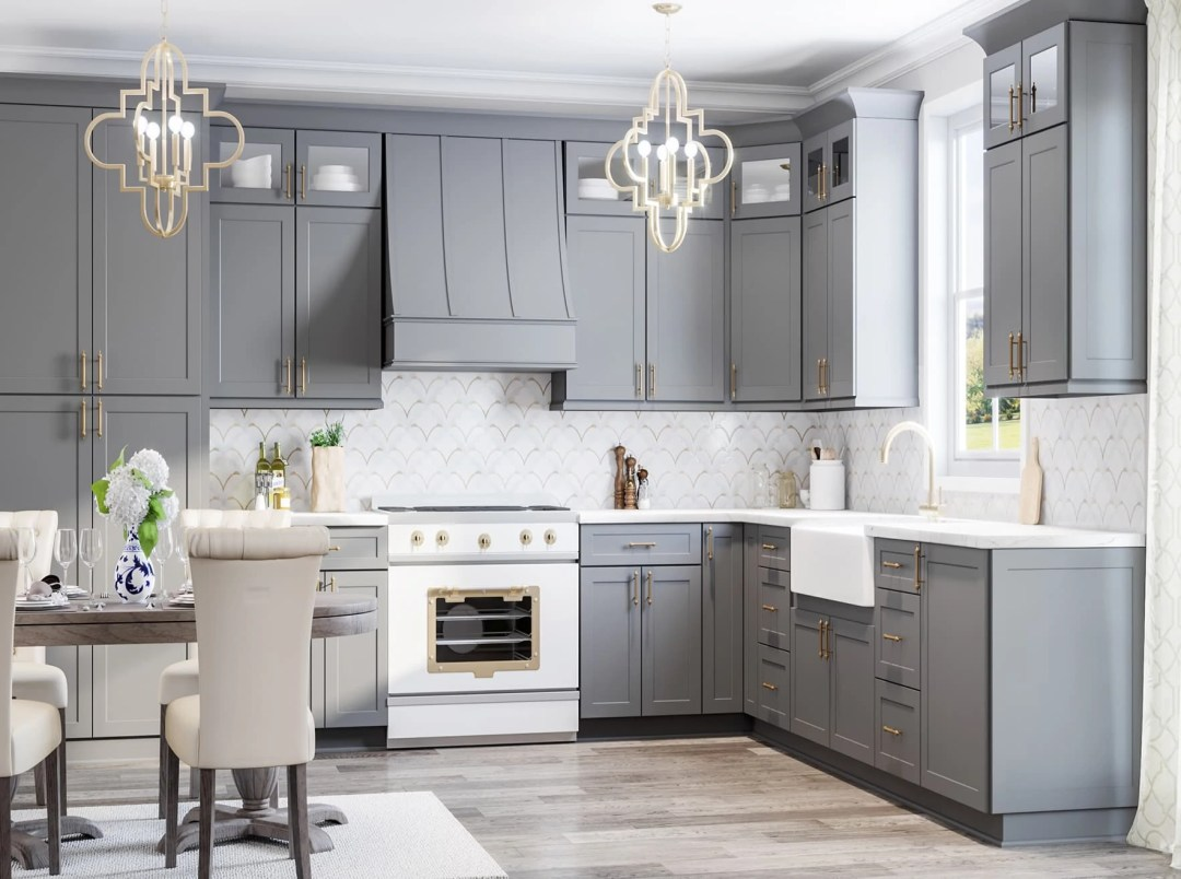 Grey Sloped Wood Range Hood - Charlotte - Kitchen Envy Cabinets