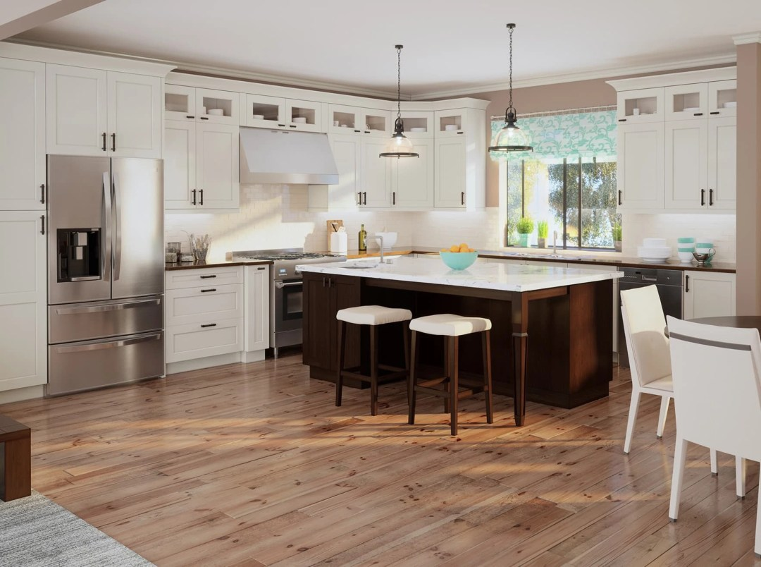 Shaker RTA Kitchen Cabinets -  Antique White - Kitchen Envy Cabinets