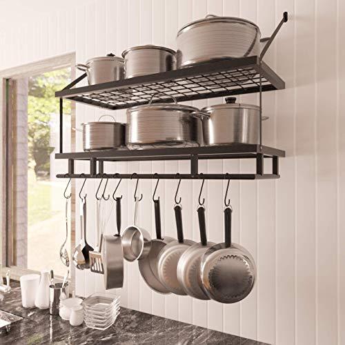 10 Detachable S-type Hooks Pot Rack Wall Mounted Steel Pan Hanger Racks