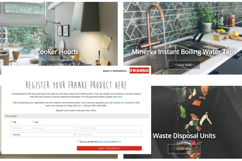 Franke updates website with product registration section