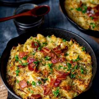 Bubble and Squeak with smoky beans and bacon
