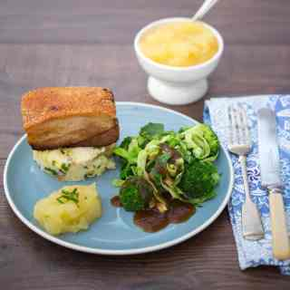 Slow Cooked Belly Pork with Homemade Apple Sauce and Crushed Lemon Potatoes