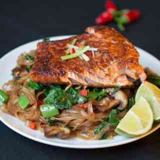 Sticky Salmon with Chilli Lime Noodles