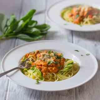 Creamy Tomato Salmon with Spaghetti