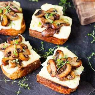 Garlic Mushroom and Brie Toast