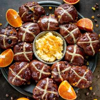 Chocolate Orange Hot Cross Buns With Orange Honey Butter