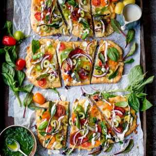 Kick Off National Vegetarian Week With This Vegetarian Summer Tomato Pizza + Basil Garlic Butter