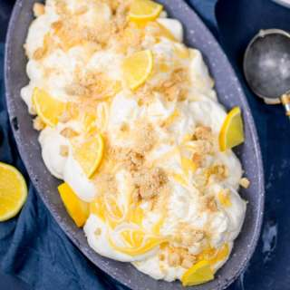 This No-Churn Lemon Shortbread Ice Cream makes a great all-in-one dessert! No special equipment needed. Easy to make gluten free too!