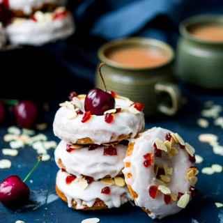 Baked Cherry Bakewell Doughnuts