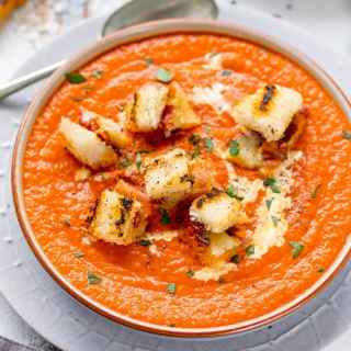 Hidden Veg Tomato Soup with Gruyere Bacon Croutons
