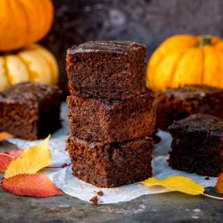Pumpkin Gingerbread Cake with Sticky Whisky Glaze – this is bonfire night all wrapped up in one bite! Eat cold or serve warm with custard.