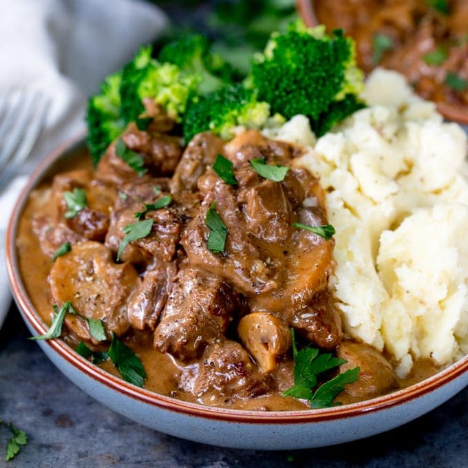 Slow Cooked Steak Diane Casserole