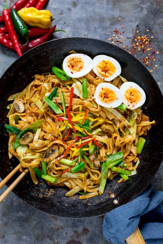 With eggs two ways, you won't miss the meat in my Vegetarian Kway Teow! A quick meal, good for the mid-week dinner rush! Top with extra hard boiled eggs!
