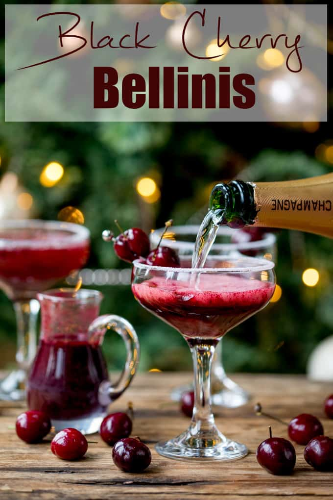 New Year's Eve Cocktail? Make the fruit puree ahead of time for this Black Cherry Bellini cocktail so you can serve up them up in super-quick time! #newyearseve #cocktail #blackcherry #bellini