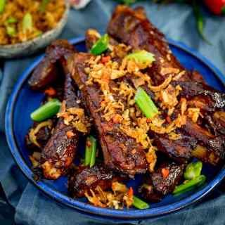 Oven Baked Asian Ribs with Crispy Onions plus Video!