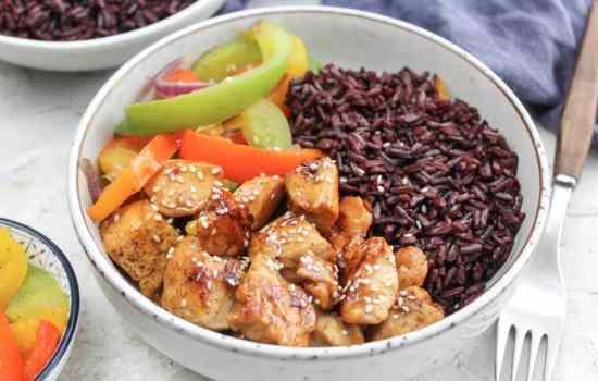 Hähnchen Teriyaki mit Jasberry Reis und Paprikamix