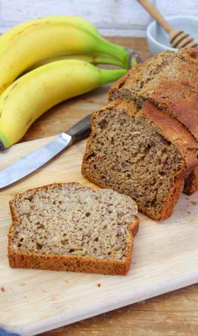 Healthy banana bread with no added sugar or fat