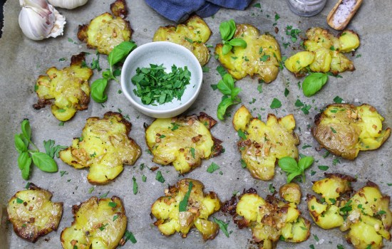 Smashed Potatoes mit Knoblauch